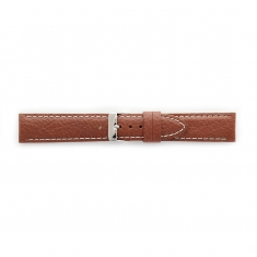 Premium quality cognac cowhide leather watch strap, contrast stitching, steel buckle