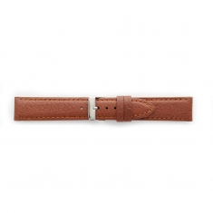 Premium quality cognac cowhide leather watch strap, coordinated stitching, steel buckle