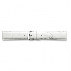 White full grain alligator finish, pigmented cowhide leather padded watch strap, steel buckle