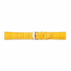 Yellow, alligator finish full grain pigmented cowhide leather padded watch strap, steel buckle