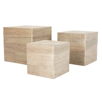Set of 3 natural fibre display risers, greyish beige colour