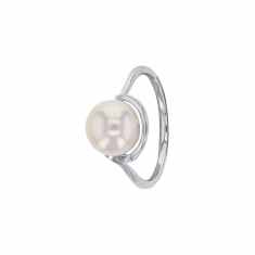 10mm cultured freshwater pearl on rhodium plated sterling silver ring
