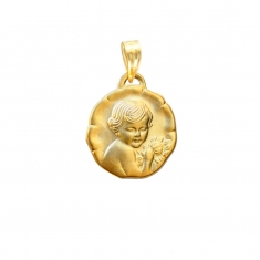 18ct gold cherub pedant with ornate edging