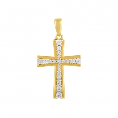 18ct gold crucifix set with cubic zirconia