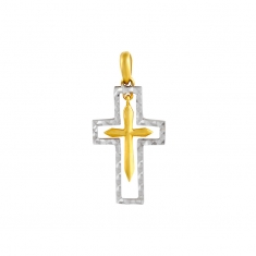 18ct white gold hollow crucifix with suspended yellow gold cross inside
