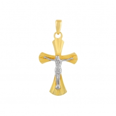 18ct yellow gold crucifix with white gold Christ figure