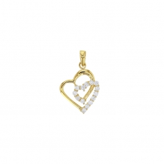 9 ct gold double heart pendant partially set with cubic zirconia