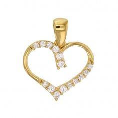 9ct gold hollow heart pendant set with cubic zirconia