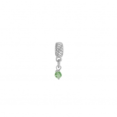 Pendant charm in rhodium plated sterling silver with light green crystal