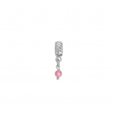 Pink crystal on a rhodium plated sterling silver pendant charm