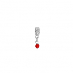 Red crystal pendant charm in rhodium plated sterling silver