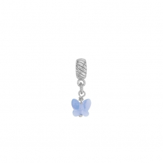 Rhodium plated sterling silver pale blue crystal butterfly stopper pendant