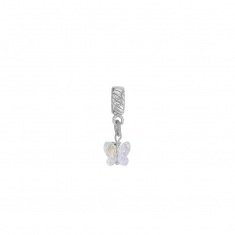 Rhodium plated sterling silver white crystal butterfly stopper pendant