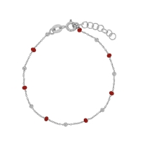 Bracelet in rhodium plated sterling silver with red enamelled and silver beads