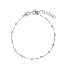 Bracelet in rhodium plated sterling silver with sky blue enamelled beads