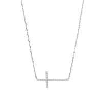 Crucifix in rhodium plated sterling silver set with cubic zirconia