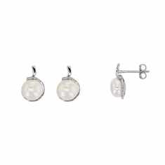 Cultured freshwater pearl earrings on rhodium plated sterling silver