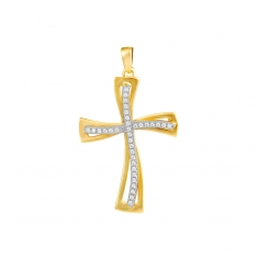 Curved 9ct gold crucifix set with cubic zirconia