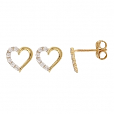 Heart shaped 9ct gold earrings set with cubic zirconia