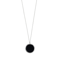 Long rhodium plated sterling silver necklace with round black agate pendant