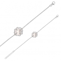 MADRE PERLA bracelet in rhodium plated sterling silver with 4 leaf clover mother of pearl detail