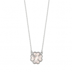 MADRE PERLA rhodium plated sterling silver necklace with clover-shaped mother of pearl detail