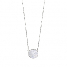 MADRE PERLA rhodium plated sterling silver necklace with round mother of pearl detail