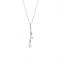 Necklace in rhodium plated sterling silver with beads and cultured freshwater pearls
