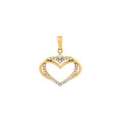 9ct gold double heart pendant, one yellow and one white heart set with cubic zirconia