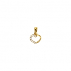 9ct gold heart outline pendant, half set with cubic zirconia