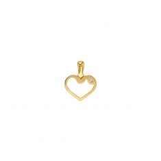 9ct gold heart outline pendant with cubic zirconia detail