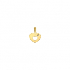 9ct gold heart pendant with cut-out centre and cubic zirconia set to one side