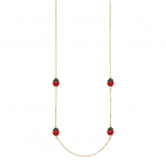 9ct gold ladybird necklace featuring black and red enamel ladybirds, 50cm