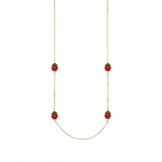 9ct gold necklace featuring black and red enamel ladybirds, 42 +3cm