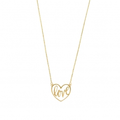9ct gold necklace with \\\'love\\\' message inside a heart