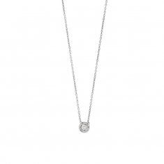 9ct white gold necklace featuring bezel set 0.07ct diamond - 42cm