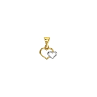 Double yellow and white 9ct gold heart pendant