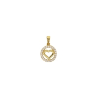 Round 9ct gold pendant set with cubic zirconia and featuring heart shape centre