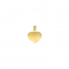 Solid 9ct gold heart pendant with cubic zirconia set to one side