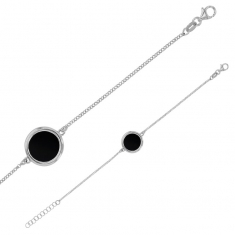Rhodium plated sterling silver bracelet featuring round black agate centre