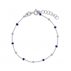 Rhodium plated sterling silver bracelet with navy-blue enamelled beads