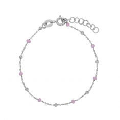 Rhodium plated sterling silver bracelet with pink enamelled beads