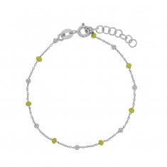Rhodium plated sterling silver bracelet with silver and yellow enamelled beads