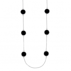 Rhodium plated sterling silver long necklace with round black agate motifs