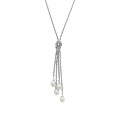 Rhodium plated sterling silver necklace with 4 cultured freshwater pearls