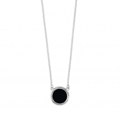 Rhodium plated sterling silver necklace with round black agate feature