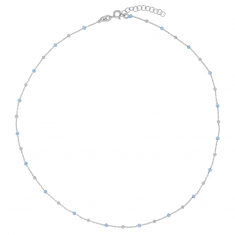 Rhodium plated sterling silver necklace with silver and sky-blue enamelled beads