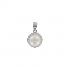 Round cultured freshwater pearl with cubic zirconia on rhodium plated sterling silver pendant