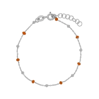 Silver and orange enamelled beads on a rhodium plated sterling silver bracelet