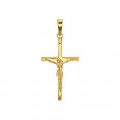 Slender 9ct gold crucifix with Christ figure